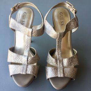 GUESS Gold snakeskin stilettos